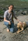 with a puppy at Ithaca Falls