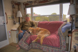 Charlie and Sunny Relaxing in RV at Dead Horse Pt
