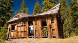 Paula Exploring Miner's Cabin At Alta Lakes