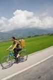 Chinese woman on bike