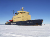 Kapitan Khlebnikov parked in fast ice 9.6km (6mi) from the Emperor rookery