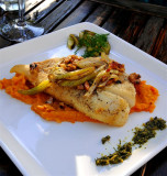 Classic German Dish, Roasted Turbot with Caramelised Fennel and Butter Squash Puree, Schoental