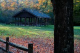 Woodbine Pavillion Backlit Fall Scene tb11083b
