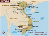 Map of Vietnam with the star indicating Ho Chi Minh City (which is close to the Cu Chi Tunnels).