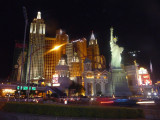Night view of the New York, New York hotel and casino where I stayed.