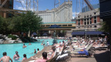People relaxing at the New York, New York pool.