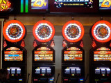 Colorful slot machines in MGM Grand casino.