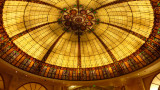 Decorative stained glass ceiling inside of the Paris Casino Resort.
