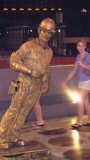This gold-painted pantomime artist was performing on the Las Vegas strip.