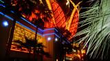 Dazzling neon façade of the Flamingo Hotel & Casino.
