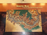Map of the South Rim of the Grand Canyon and the Colorado River flowing along the bottom of the canyon.