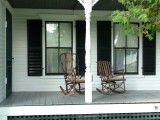 Comfortable rocking chairs on the front porch of the Coolidge Homestead.