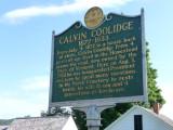 Sign as you enter the Calvin Coolidge State Historic Site describing Calvin Coolidge.