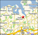 Map of the North Shore of Long Island showing Oyster Bay (in Suffolk County) where Sagamore Hill is located.