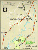 Map of Kinderhook, NY showing the location of Martin Van Buren's house, Lindenwald.