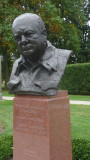 Close-up of the Churchill statue.  He looks very determined.