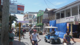One of the main streets of San Pedro.  Bicycles and golf carts are popular way to get around.