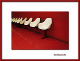 Red background for white seats line, Le Bourget