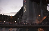 The crowds at the base of the bridge, about 7:45PM