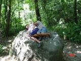 Melepas Lelah di atas batu
