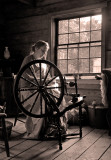 Spinning Wool in the Kvaale Farm House.