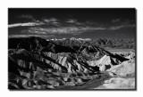 Badland formations and Telescope Peak at Zabriskie Point