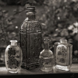 old bottles in the window
