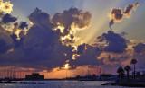 Harbour castle silhouette