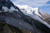 View of Mont Blanc on the way up to Aiguille du Midi