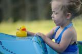 Duck shares the slide