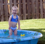 Little Dunk likes the pool