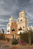 San Xavior Mission with Cacti  - Arizona