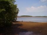 The lagoon empties here.