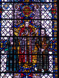 Portion of the Hymnologists window with Mrs Alexander (There is a greenhill) on the left