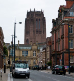 Liverpool Anglican Cathedral towers above Hope Street