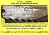 CAT SERIAL AND ARRANGEMENT NUMBERS CLOSEUP