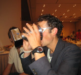 Justin (Scott's crew) partakes of the celebration wine.