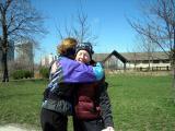 gives mary a hug