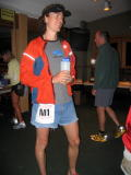 Scott Jurek M1, 7X consecutive WS100 winner, greets the runners the morning on the race