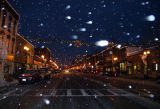 an evening snow storm on fall street...