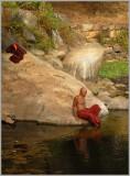 Monk Bathing Kalu Pokuna Sri Lanka