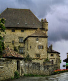 Once upon a time , by a small castle in a rainy day....