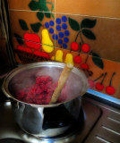 First step: put the berries in a big pan....