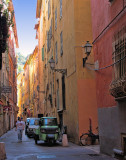 The alleys of the old towns have the colours of mustard and oranges