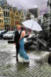 Rainy weddings, they say, are lucky...