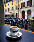 An old arcade as perfect shelter...coffee and rain!