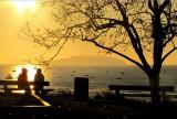 Seuls devant le soleil couchant