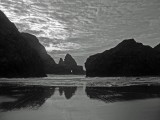 Hole in the rocks at Pistol River Beach bw