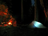 Integral Design silshelter glows with campfire