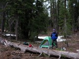 Camp set, snow melted, ready for the climb